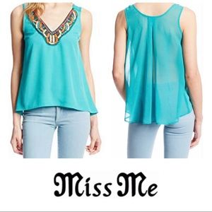 Miss Me Teal Beaded V-Neck Sleeveless Top Large L
